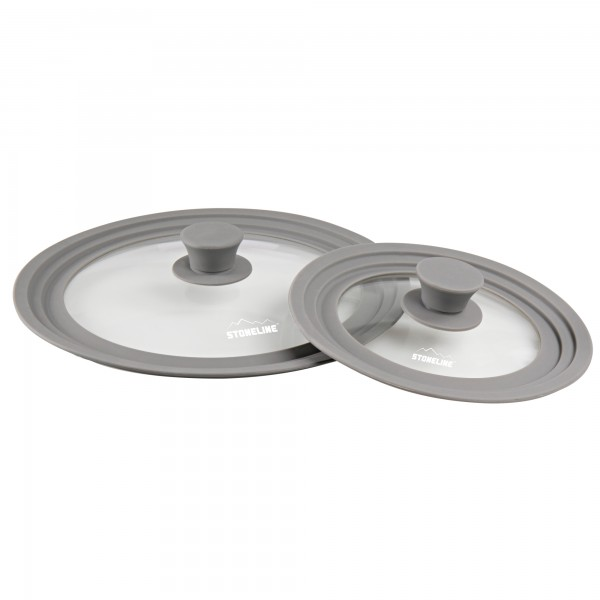 STONELINE® Universal glass lid Set, set of 2 With silicone rim, for 16/18/20 cm and 24/26/28 cm