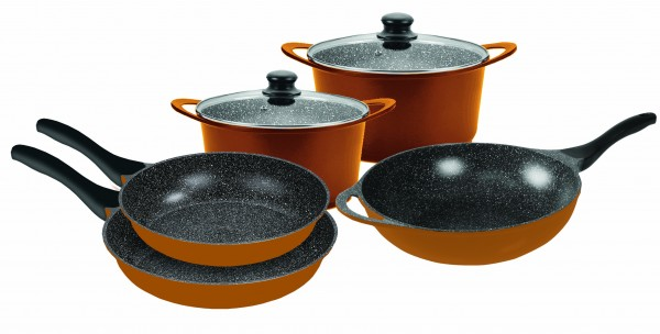 STONELINE® Cookware set, set of 7, with glass lid, copper