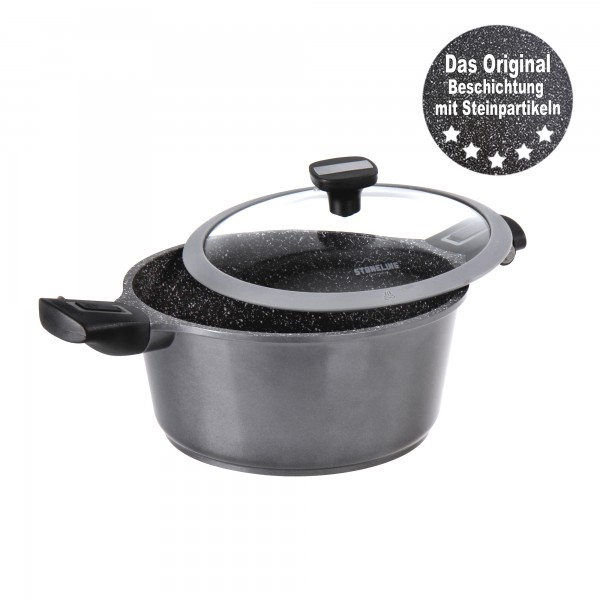 STONELINE® Imagination PLUS Roasting pot 24 cm, with removable handles, with glass lid