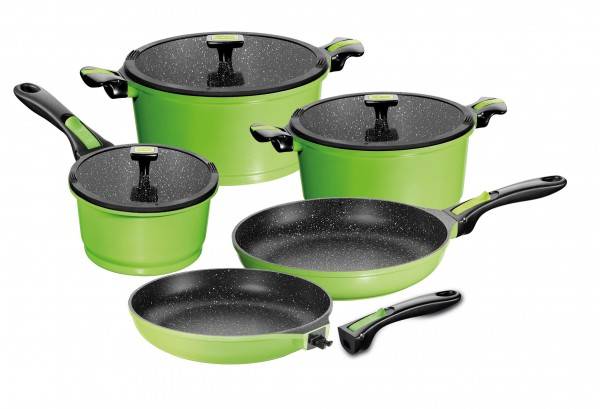 STONELINE® Imagination cookware set, set of 8, with exchangeable and removable handles, with glass lids, green