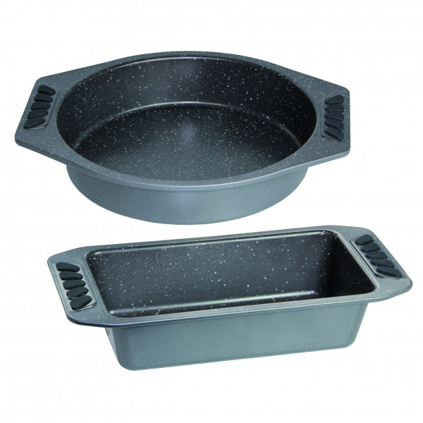 STONELINE® 2-piece baking tin Set, round and rectangular shape, silver, made from carbon steel