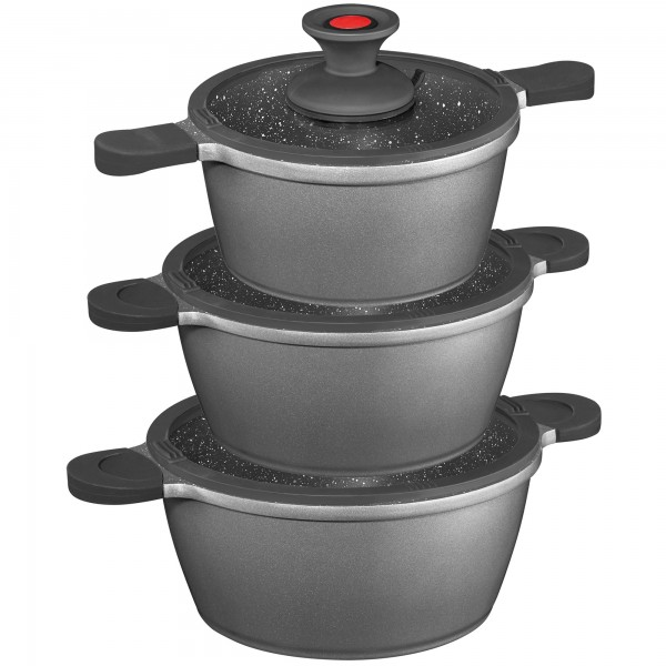 STONELINE® FLEX 6 pc pot set with silicon glass lids, removable lid knob, Practical pouring function