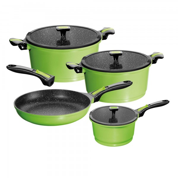 STONELINE® Imagination cookware set, set of 7, with exchangeable and removable handles, with glass lids, green