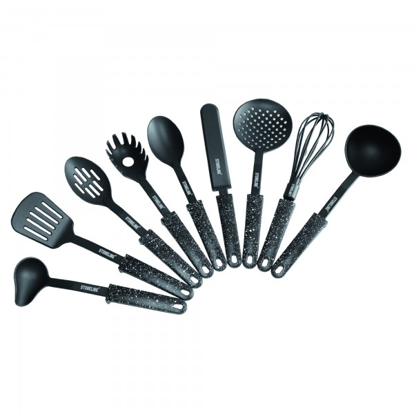 STONELINE® Kitchen utensil set, set of 9, with convenient foot